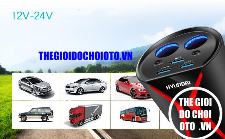 Bộ chia tẩu sạc trên ô tô chính hãng Hyundai