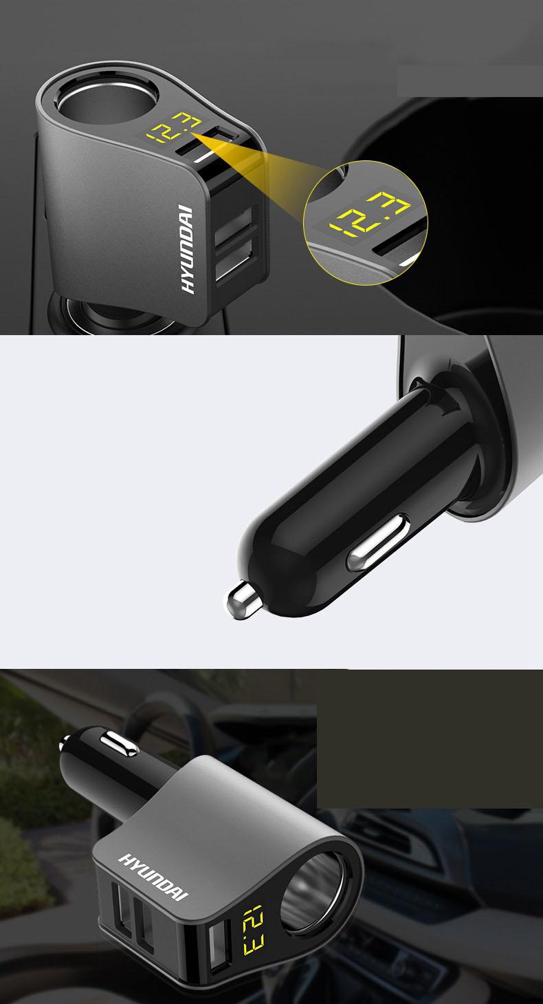 Tẩu Sạc  ra  1 cổng tẩu và 3 cổng usb sạc điện thoại, ipad chính hãng Hyudai ( Mẫu 2 )