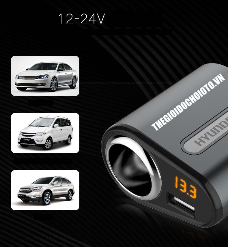 Tẩu Sạc ô tô Hyundai chia điện ra  1 cổng tẩu và 3 cổng usb sạc điện thoại, ipad