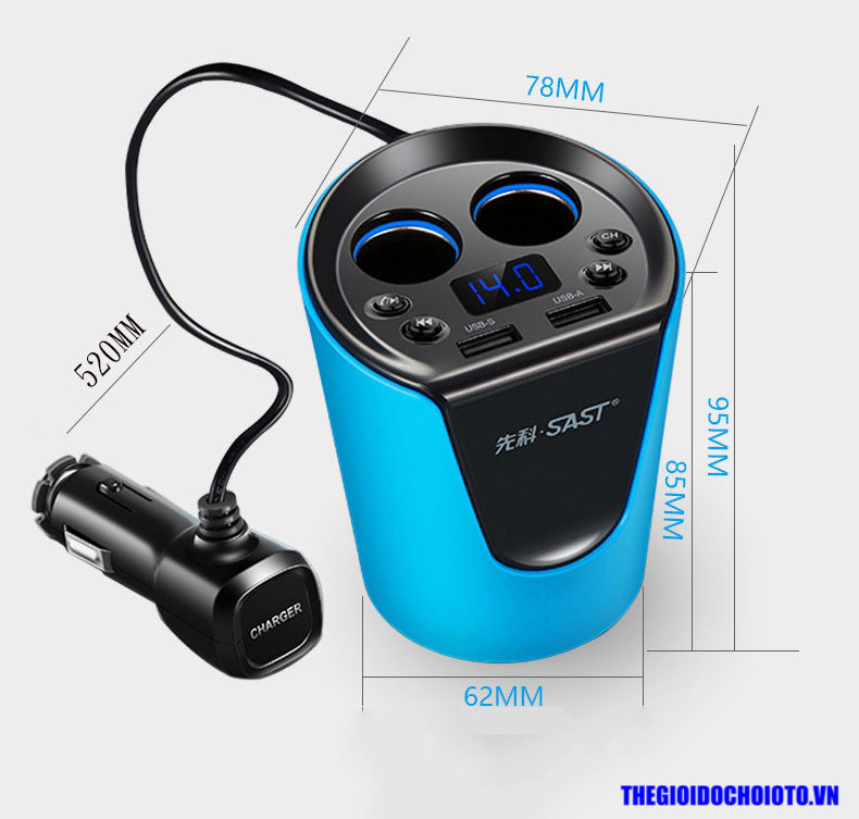 Bộ chia tẩu sạc cốc trên ô tô kiêm bluetooth Mp3 chính hãng SAST
