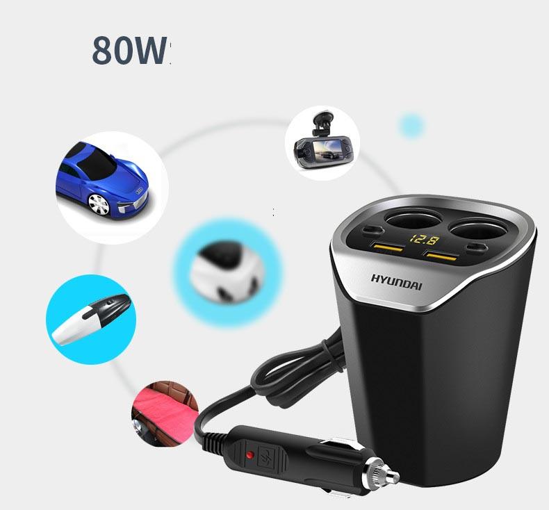 Tẩu cốc ô tô Hyundai mẫu 2 chia điện ra 2 cổng tẩu và 2 cổng usb có đồng hồ báo điện áp