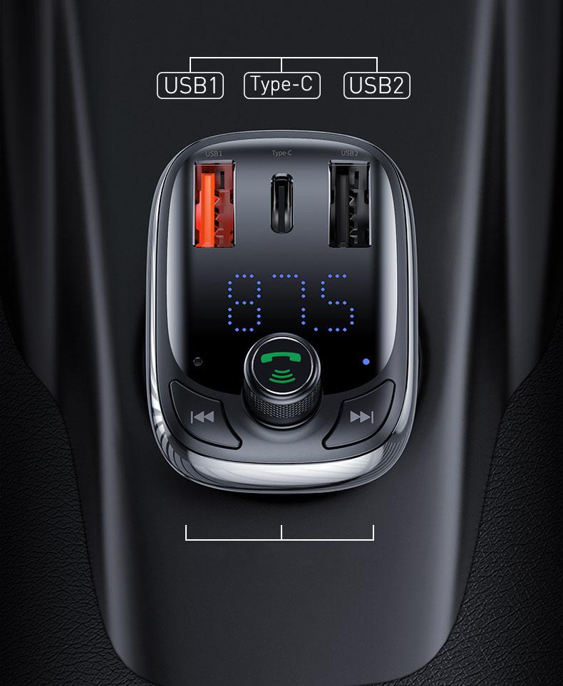 Tẩu nghe nhạc bluetooth Mp3 cho ô tô chính hãng Baseus có sạc nhanh