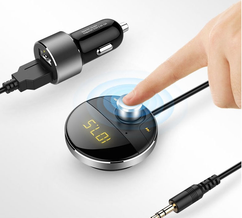 Tẩu nghe nhạc bluetooth Mp3 có cáp ra cổng AUX màn hình có đế gắn nam châm