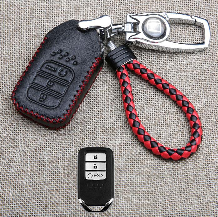 Bao da chìa khóa ô tô Honda chỉ đỏ (mẫu 6)