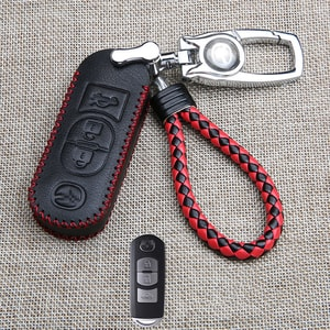 Bao da chìa khóa ô tô Mazda chỉ đỏ (mẫu 6)