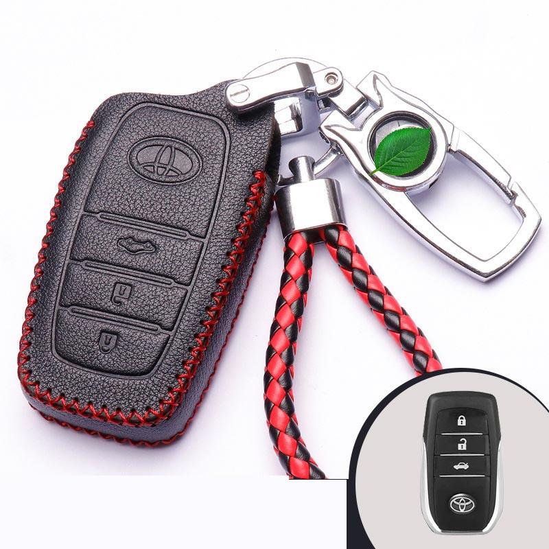 Bao da chìa khóa ô tô Toyota 3 nút  đen chỉ đỏ ( mẫu 5 )