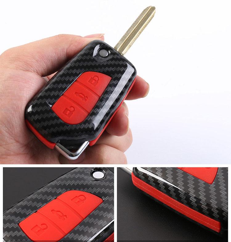 Ốp chìa khóa carbon cho xe Toyota  khóa gập ( mẫu 2 )
