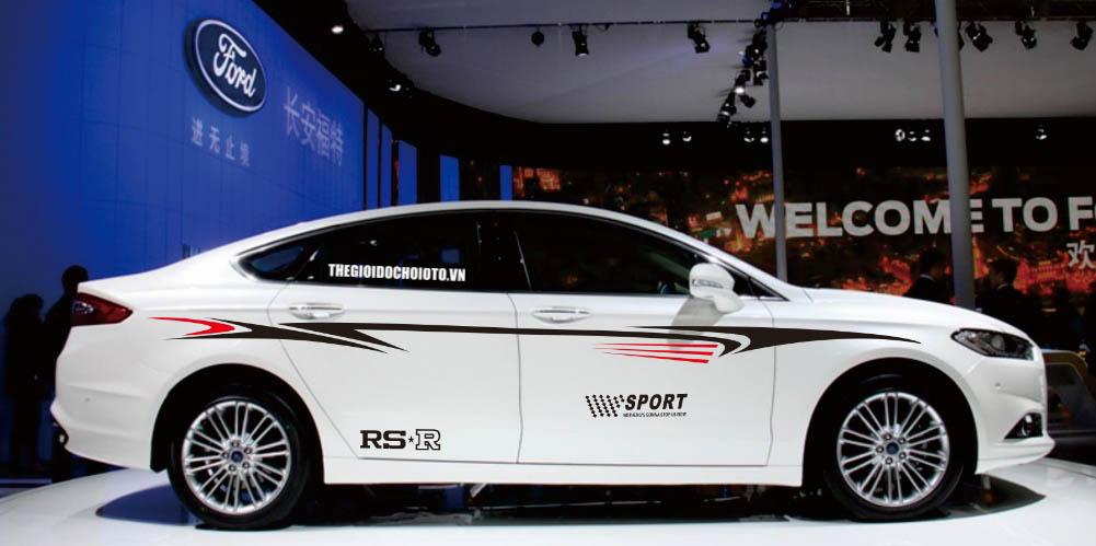Bộ tem decal RS-R SPORT dán sườn xe ô tô