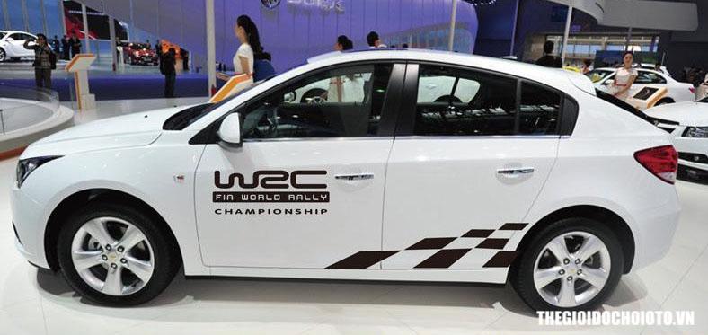 Bộ tem decal WRC kẻ sọc ô cờ dán sườn xe ô tô ( mẫu 1)