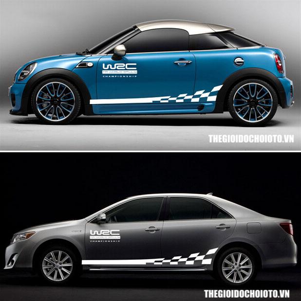 Bộ tem decal WRC kẻ sọc ô cờ dán sườn xe ô tô ( mẫu 2)