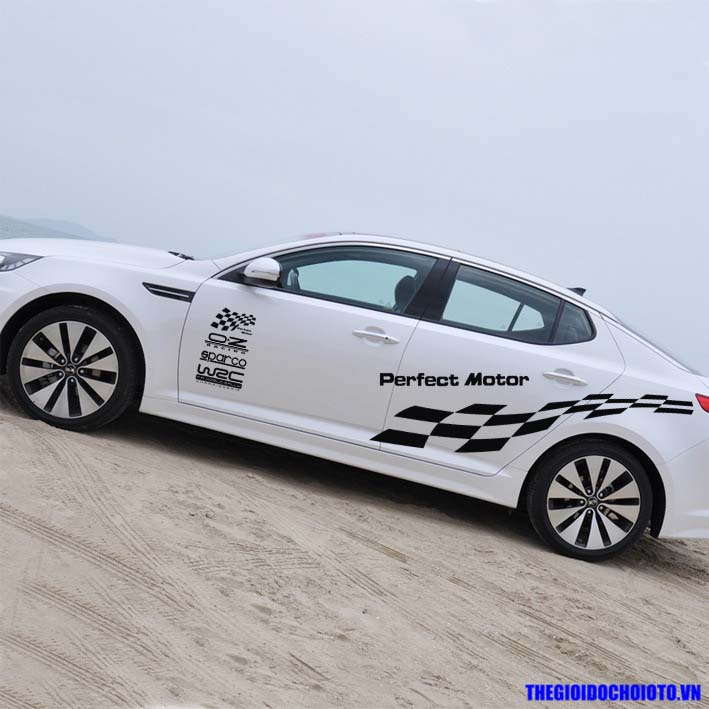 Bộ tem decal WRC kẻ sọc ô cờ dán sườn xe ô tô Perfect Motor (mẫu 6)