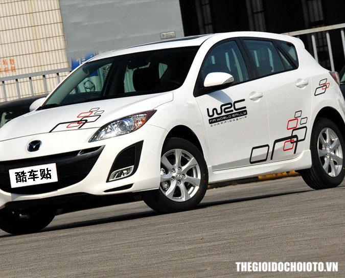 Bộ tem decal WRC ô vuông dán sườn xe ô tô ( mẫu 5)