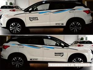 Bộ tem Discovery sport và dải trang trí dán sườn xe ô tô ms-206
