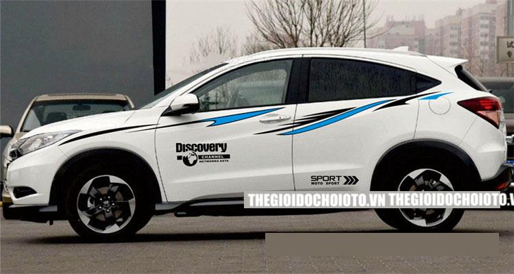 Bộ tem Discovery sport và dải trang trí dán sườn xe ô tô