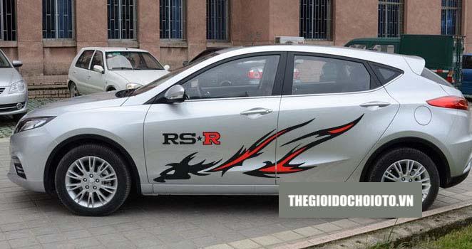 Bộ tem decal Ngọn Lửa Rồng RS-R dán sườn xe ô tô