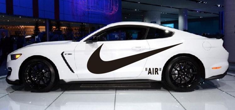 Bộ tem biểu tượng Nike dán trang trí sườn xe ô tô