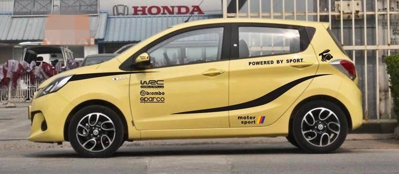 Bộ tem WRC moto sport dán trang trí ô to hatchback nhỏ kia morning, i10, spark