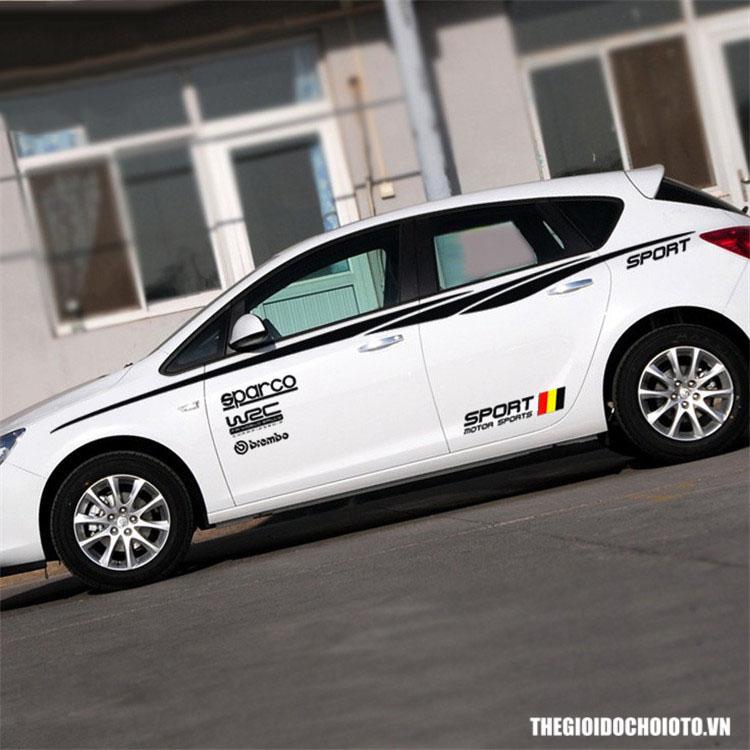 Bộ tem WRC Sport dán trang trí sườn xe ô tô