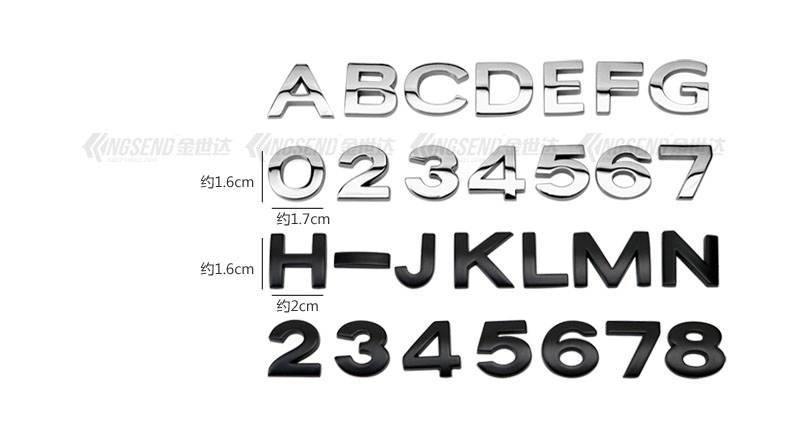 Tem chữ kim loại, số kim loại  cao cấp cỡ nhỏ cao 1.6 cm dán xe ô tô