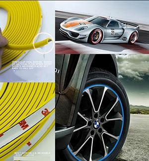 Cuộn dây dán viền trang trí vành lazang xe ô tô, dán mâm xe ô tô
