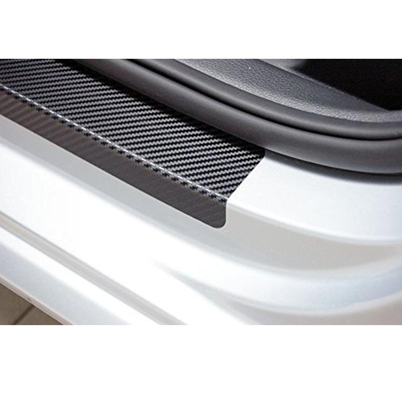 Bộ 4 dải carbon dán bậc cửa ô tô, trang trí chống xước cho xe