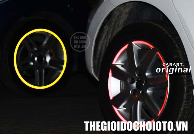 Decal dán viền phản quang mâm xe ô tô, lazang xe ô tô