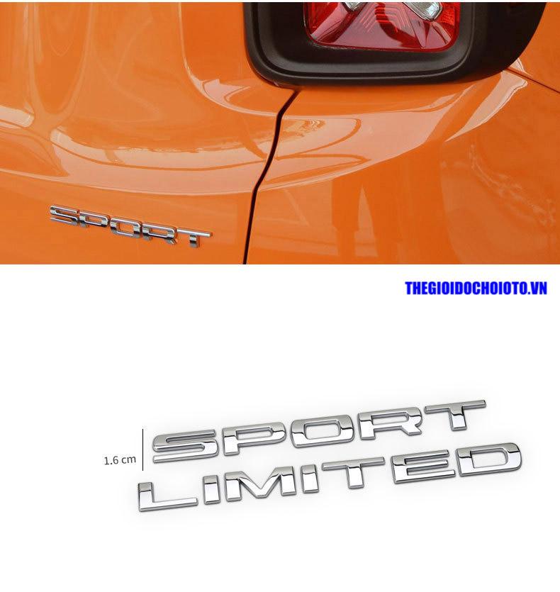 Decal logo 3d kim loại chữ Sport, Limited dán xe ô tô