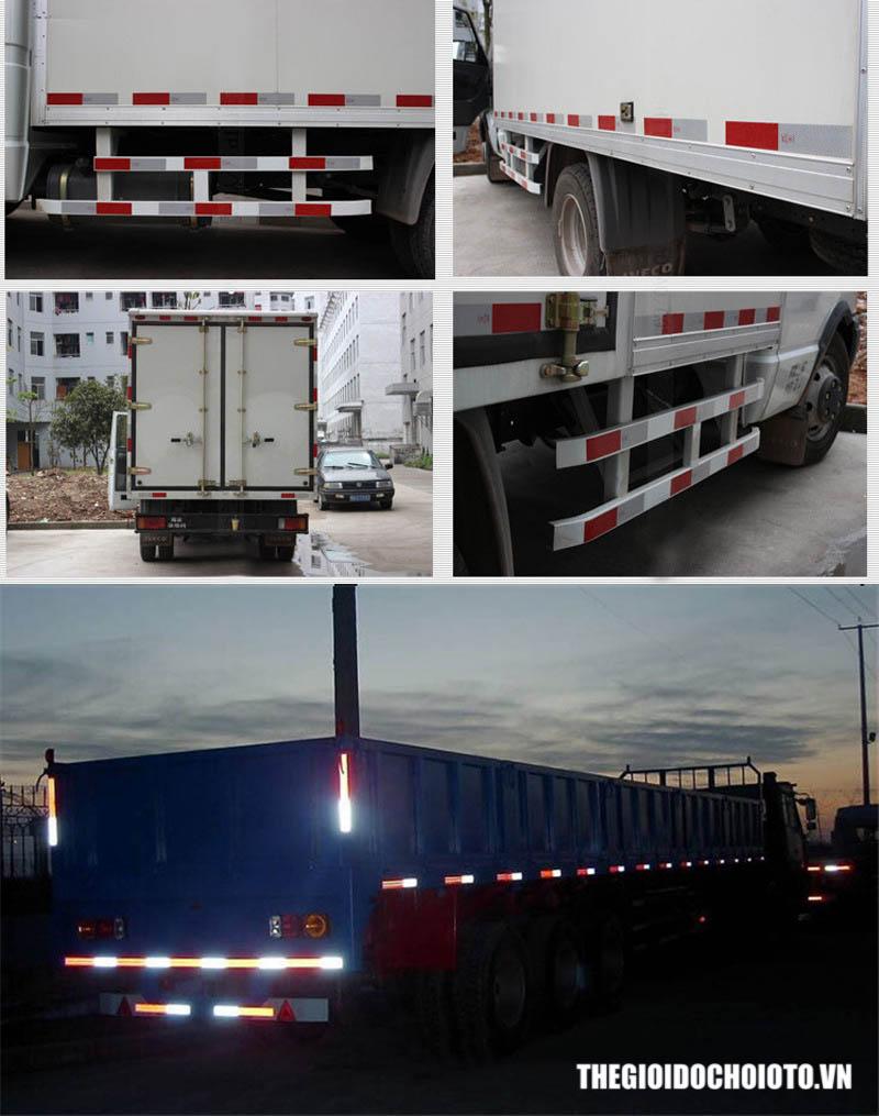 Decal phản quang trắng đỏ cảnh báo dùng cho xe tải