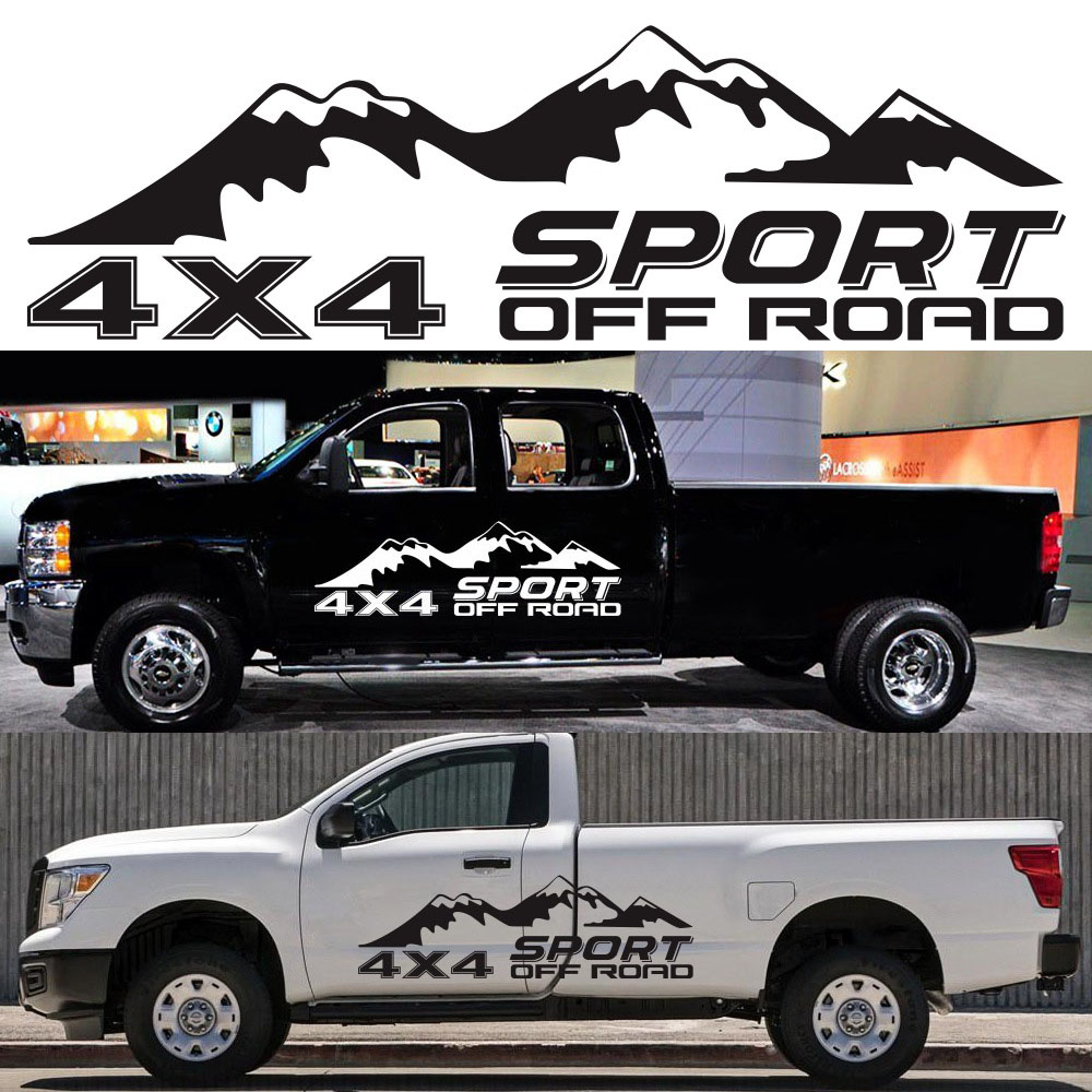 Tem decal 4x4 và ngọn núi dán trang trí xe ô tô bán tải