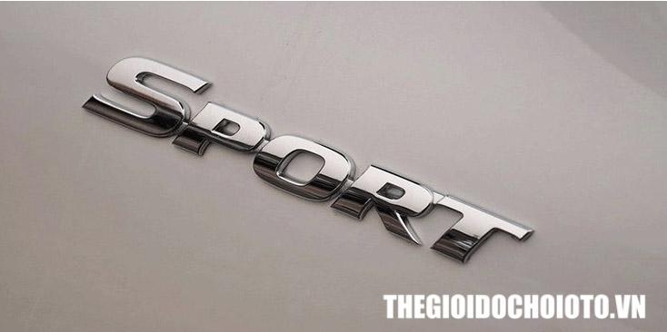 Decal tem chữ 3d sport màu bạc dán trang trí ô tô