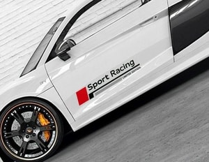 Bộ tem decal chữ Sport Racing dán sườn xe ô tô ms-234