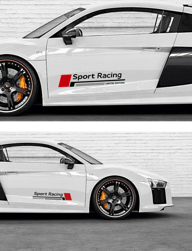 Bộ tem decal chữ Sport Racing dán sườn xe ô tô