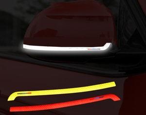 Decal tem dải màu phản quang dán gương ô tô (mẫu 3) ms-201