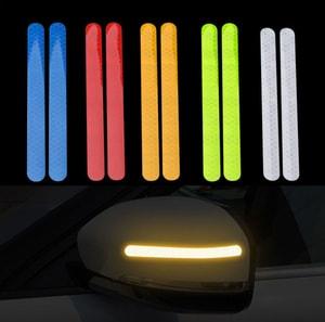 Decal tem dải màu phản quang dán gương ô tô (mẫu 5) ms-299