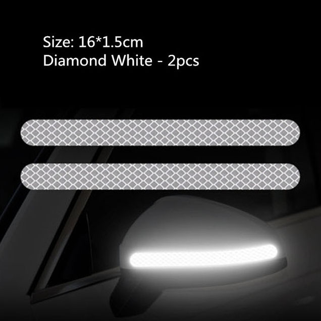 Decal tem dải màu phản quang dán gương ô tô (mẫu 5)