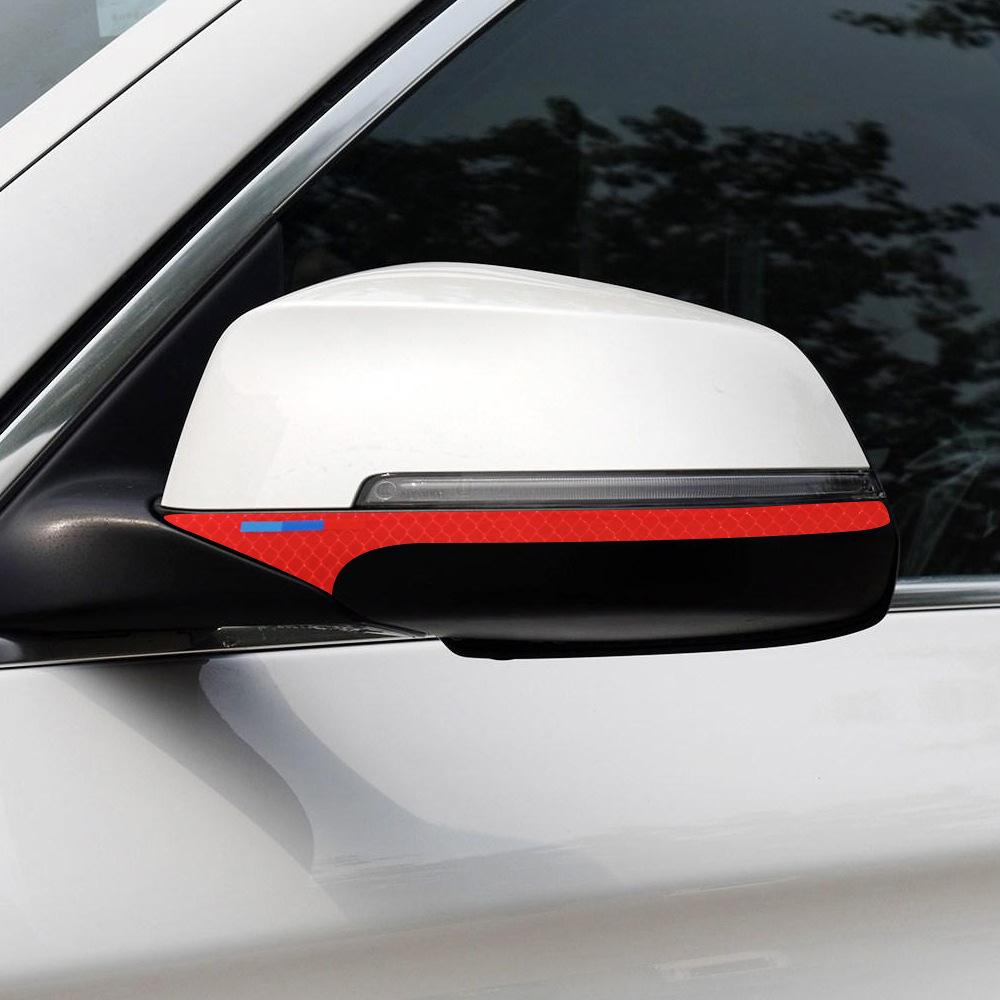 Decal tem dải màu phản quang dán gương ô tô (mẫu 6)