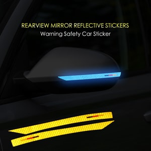 Decal tem dải màu phản quang dán gương ô tô (mẫu 8) ms-301