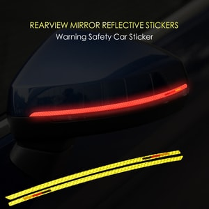 Decal tem dải màu phản quang dán gương ô tô (mẫu 9) ms-302