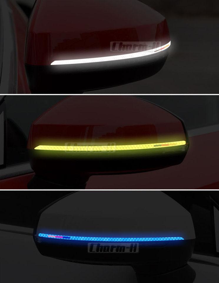 Decal tem dải màu phản quang dán gương ô tô (mẫu 9)