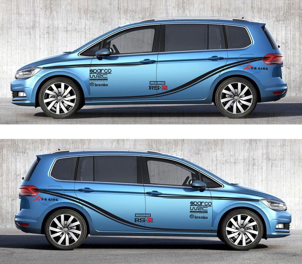 Dải tem decal dán thân xe WRC trang trí ô tô suv