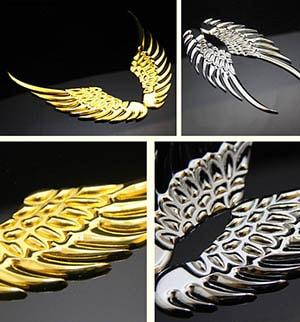 Decal tem 3D đôi cánh thiên thần kim loại dán trang trí logo ô tô MS-26