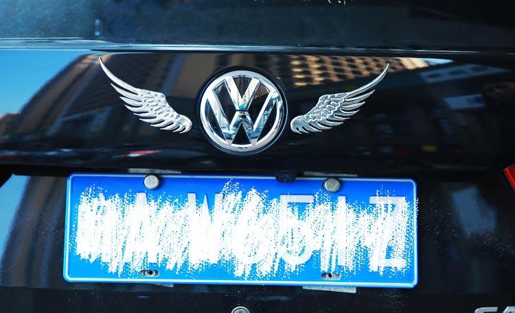Decal tem 3D đôi cánh thiên thần kim loại dán trang trí logo ô tô