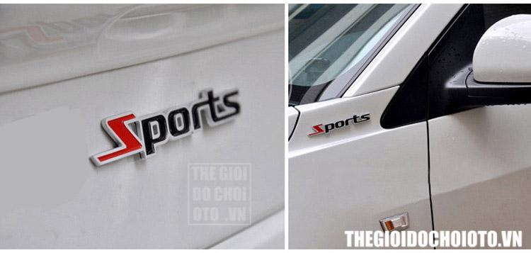 Decal Tem chữ kim loại Sport dán trang trí ô tô