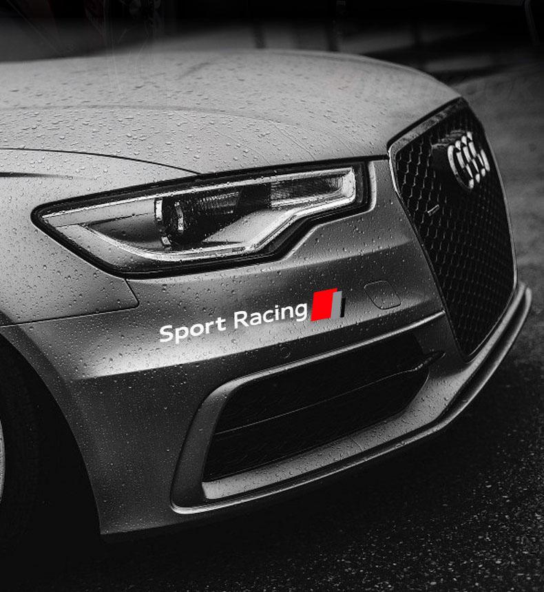 Decal tem Sport Racing dán trang trí đầu xe ô tô