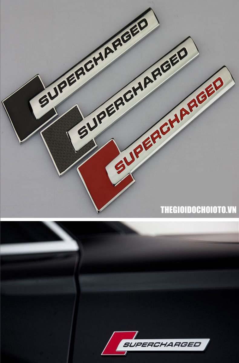 Logo chữ SUPERCHARGED dán trang trí xe ô tô