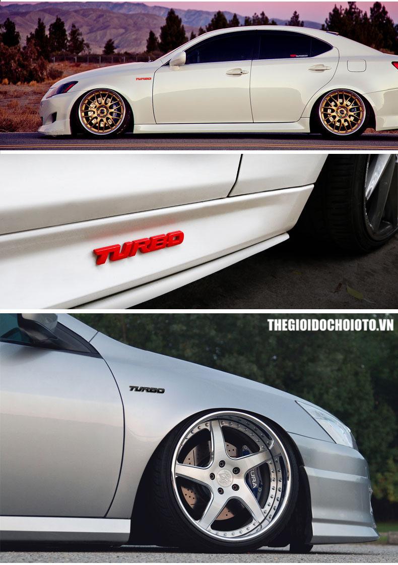 Logo chữ Turbo dán xe ô tô (mẫu 5)