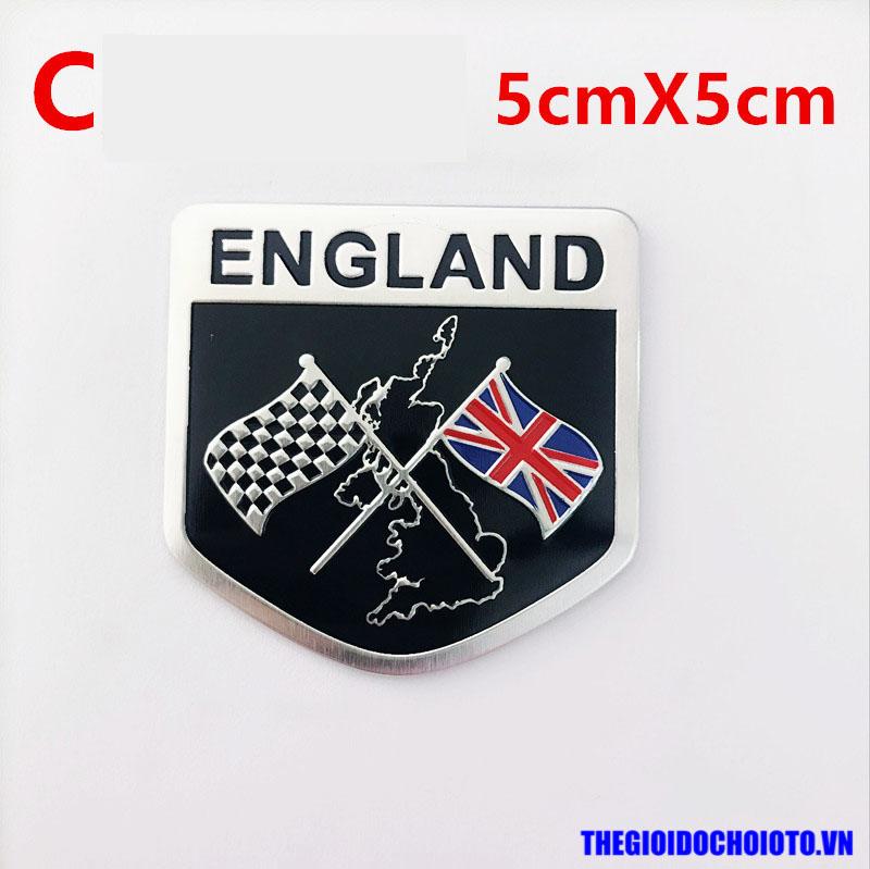 Logo kim loại cờ Anh dán xe ô tô