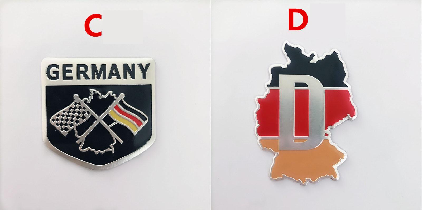 Logo kim loại cờ Đức dán xe ô tô