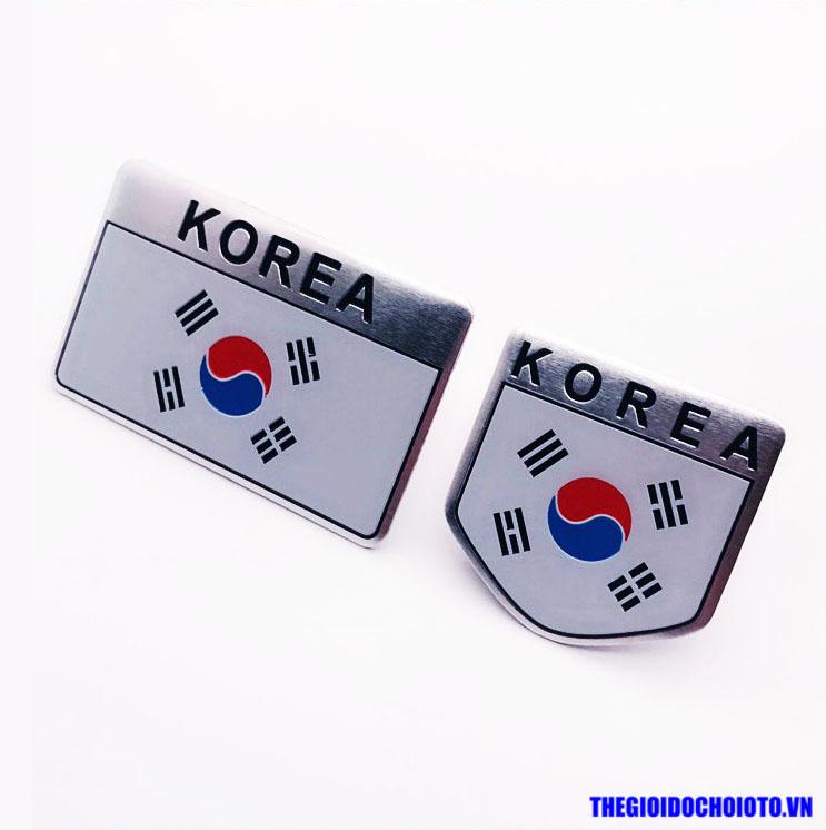 Logo kim loại cờ Hàn Quốc 3D dán xe ô tô