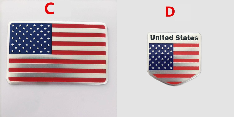 Logo kim loại cờ Mỹ 3D dán xe ô tô